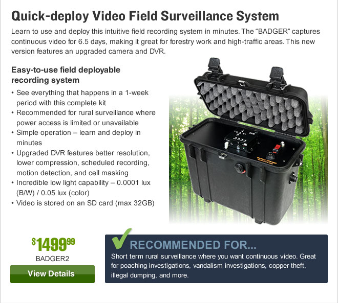 Quick-deploy Video Field Surveillance System