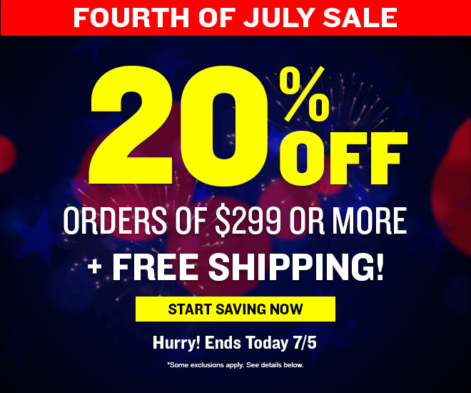 4th of July Sale – 20% Off Sitewide on $299, Plus Free Shipping!  Hurry! Ends 7/5/16