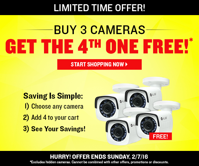 BUY 3 CAMERAS, GET THE 4TH ONE FREE! Hurry! Offer Ends Sunday, 2/7/17