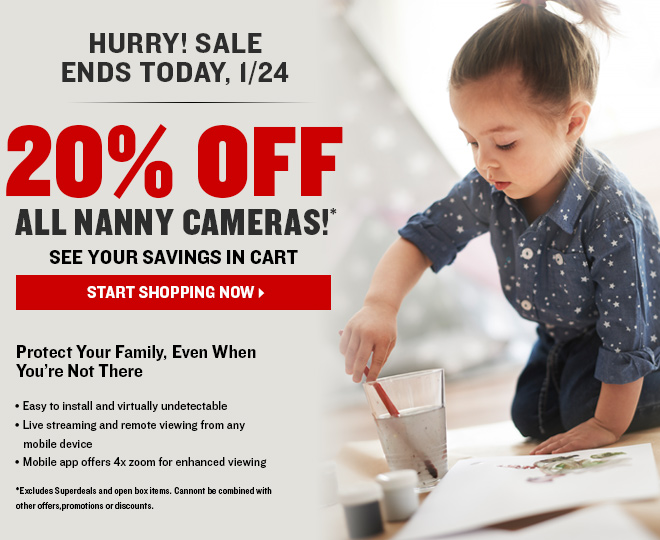 WEEKEND SALE! 20% Off All Nanny Cams | No Code Needed! See Savings in Cart