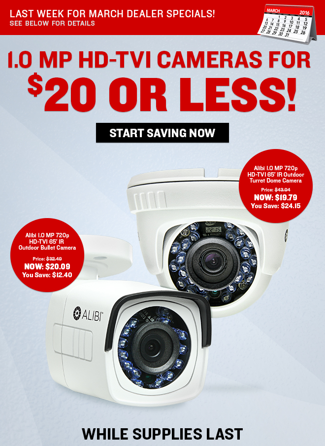 1.0 MP HD-TVI Cameras $20 Or Less! While Supplies Last