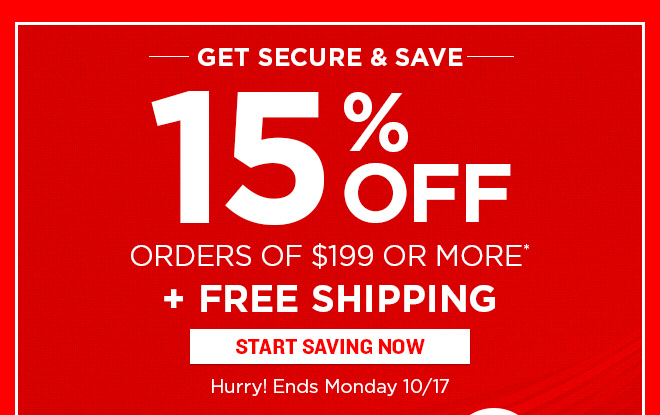 15% Off Orders of $199 + FREE SHIPPING!