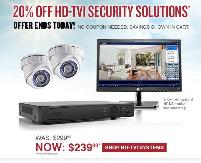 20% Off HD-TVI Security Solutions - Offer Ends June 20 - Click for More Information!