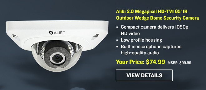Alibi 2.0 Megapixel HD-TVI 65' IR Outdoor Wedge Dome Security Camera