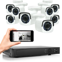 Professional Grade Security Camera System with 4 Weatherproof 1.0 MP / 720p HD-TVI Turret Cameras, 4-Channel DVR, Pre-Installed 1TB HDD and 65' Night Vision