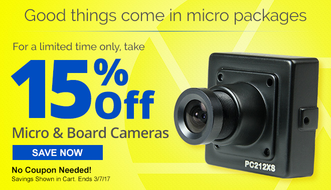 Get Big Possibilties and Lower Prices When You take 15% Off Micro and Board Cameras