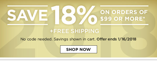 Save 18% on order of $299 or More + Free Shipping!